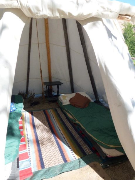 inside of a camping tepee.