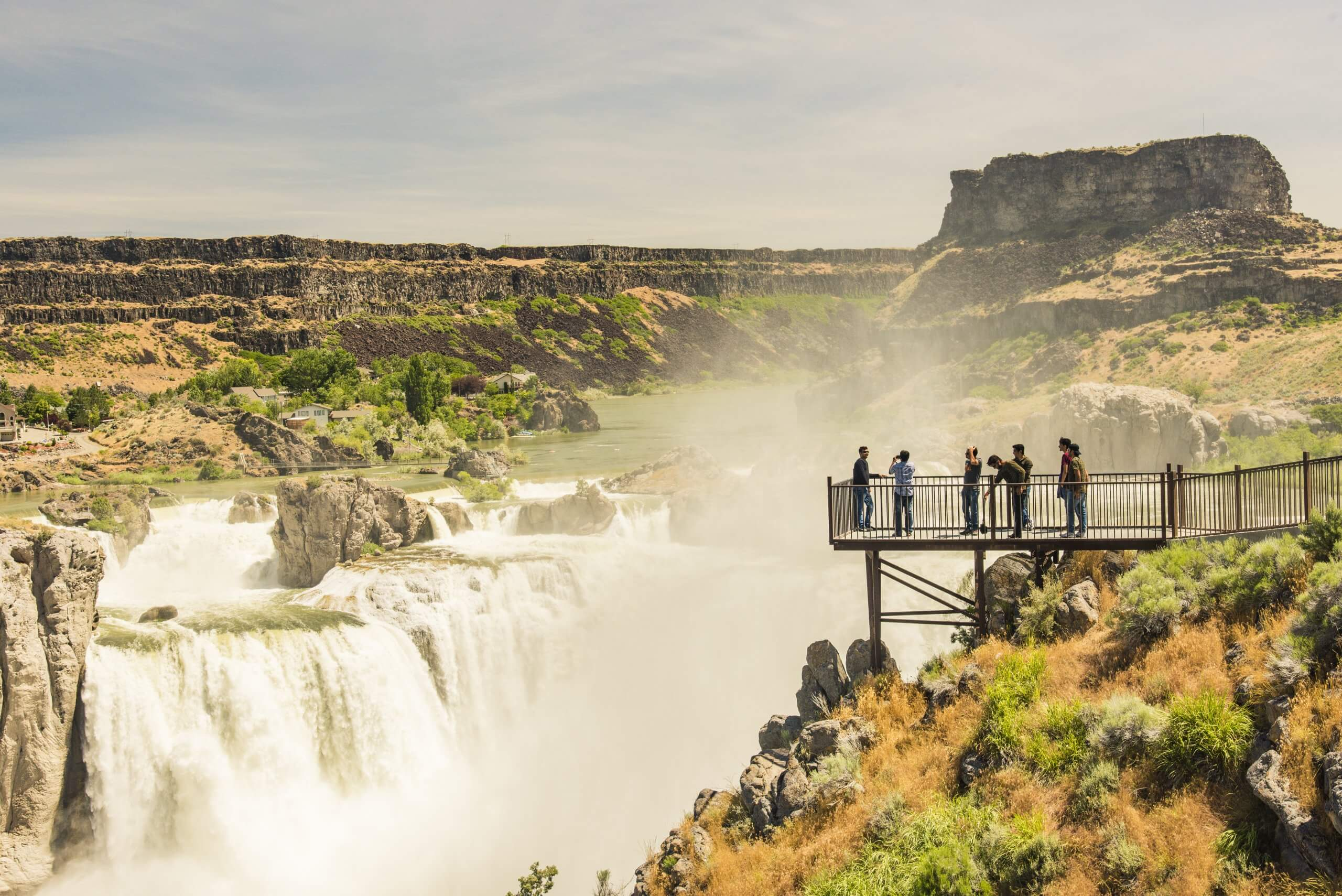 A view of Shoshone Falls from the viewing deck in the summer.