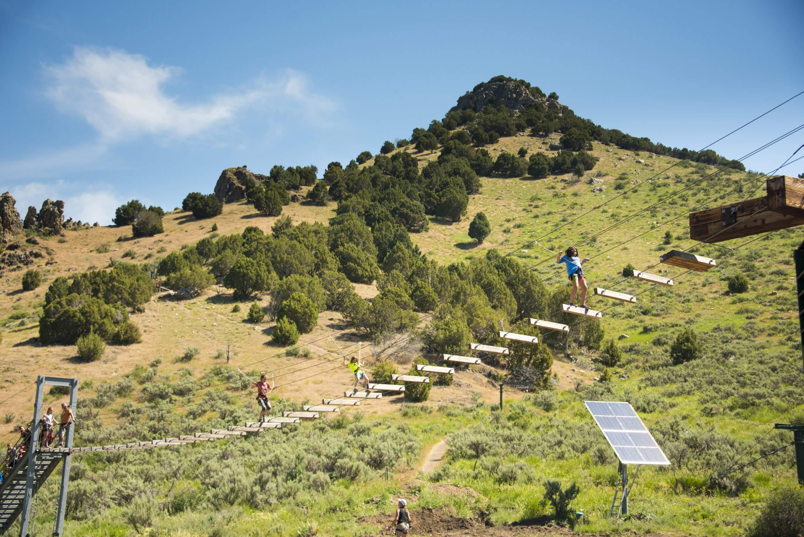 Obstacle course at Lava Zipline operated out of Lava Springs, Idaho.