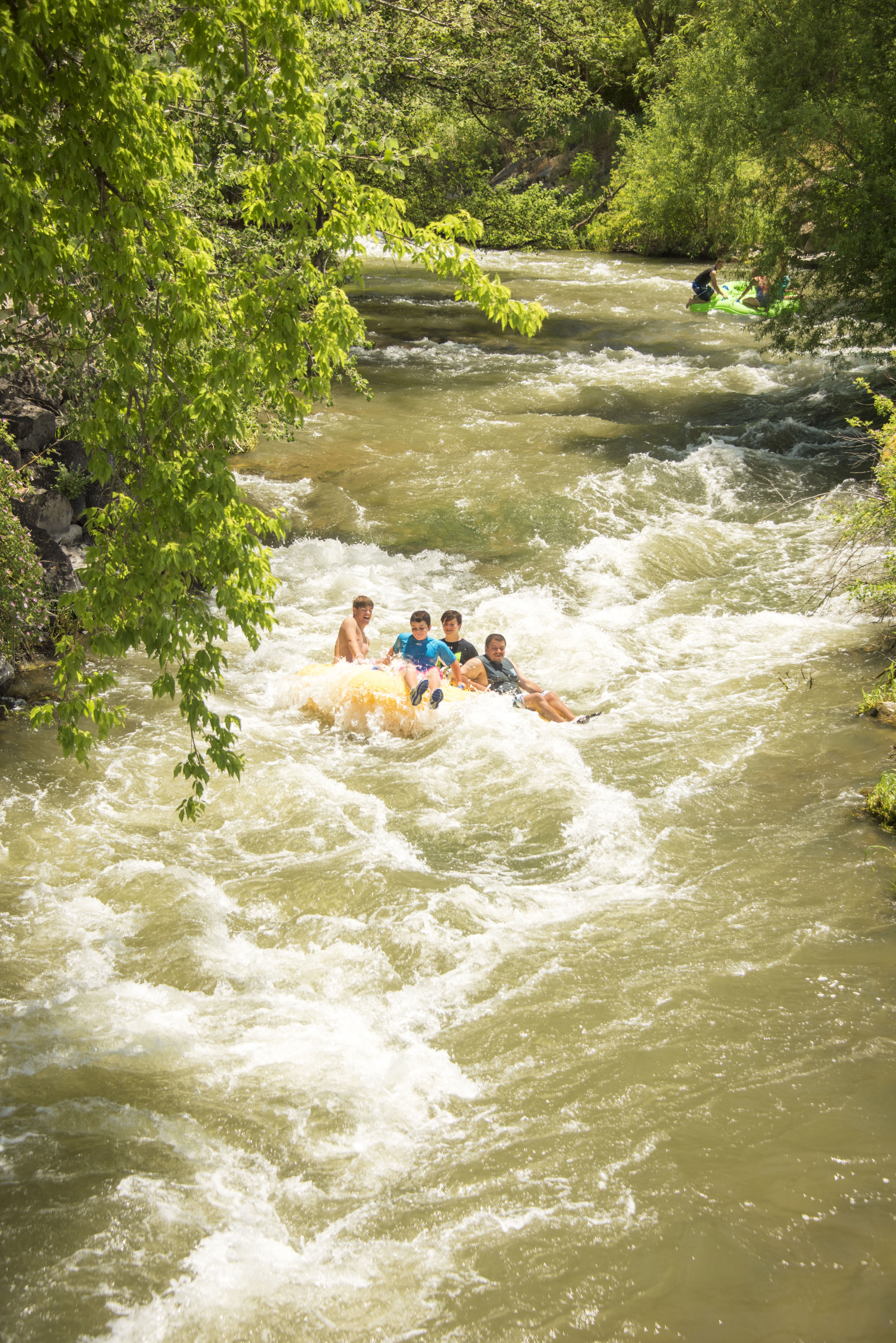 Tubing on the Portneuf River in the summer.