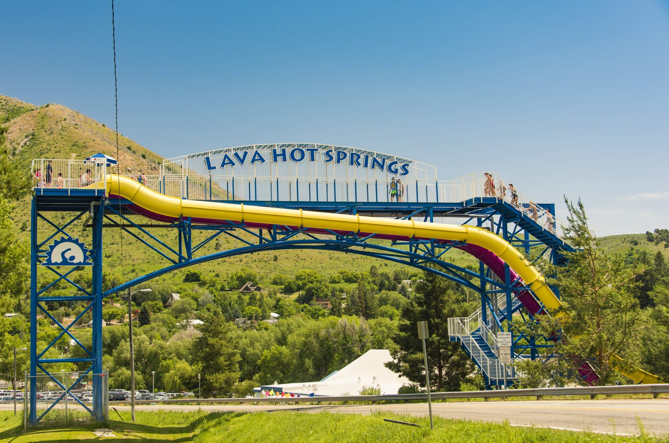 Lava Hot Springs Olympic Swimming Pool & Waterpark in the summer.