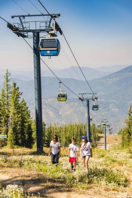 people hiking near silver mountain scenic gondola