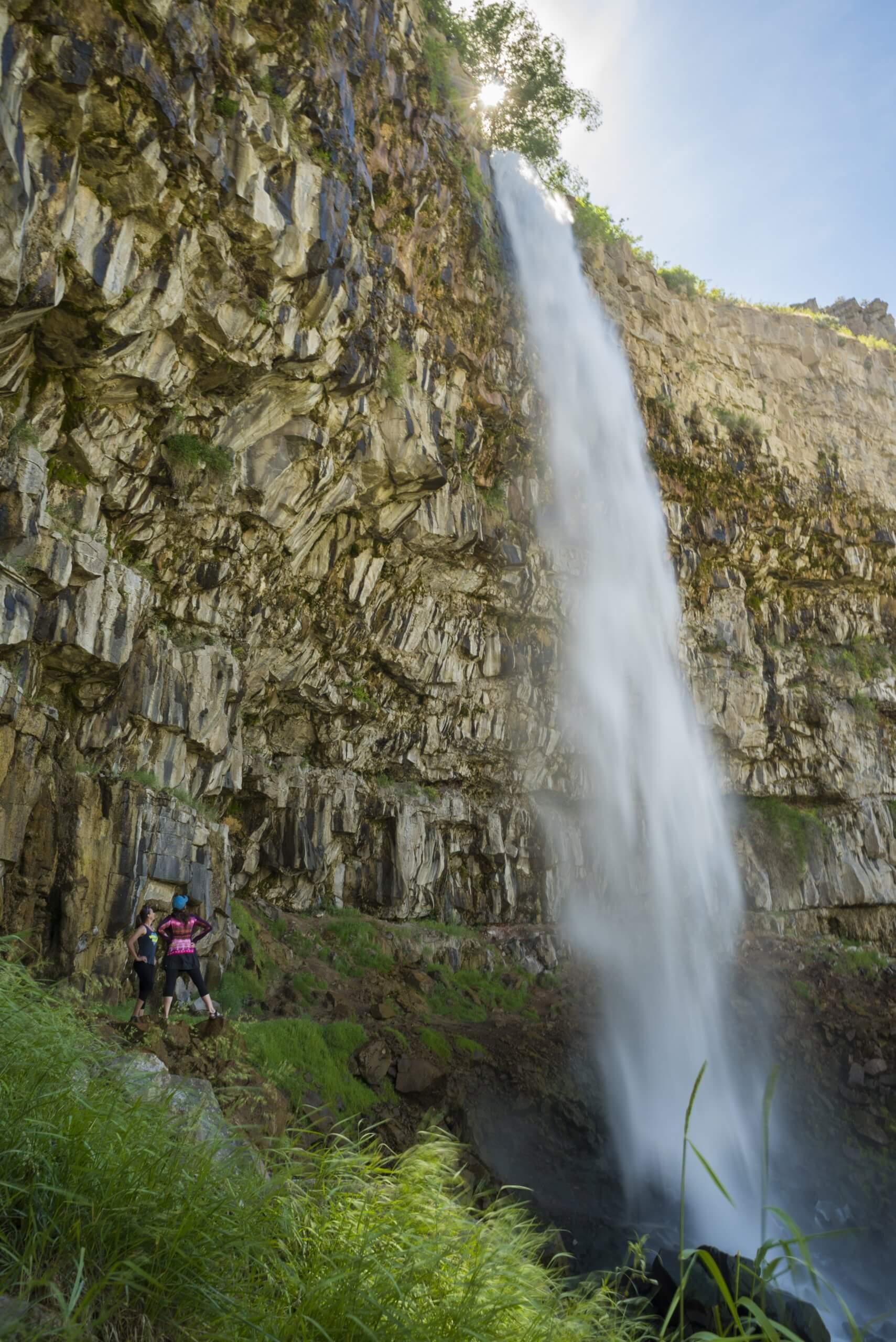 Hiking near Perrine Coulee Falls.