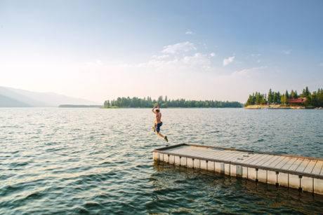 Swimming at Lake Cascade.