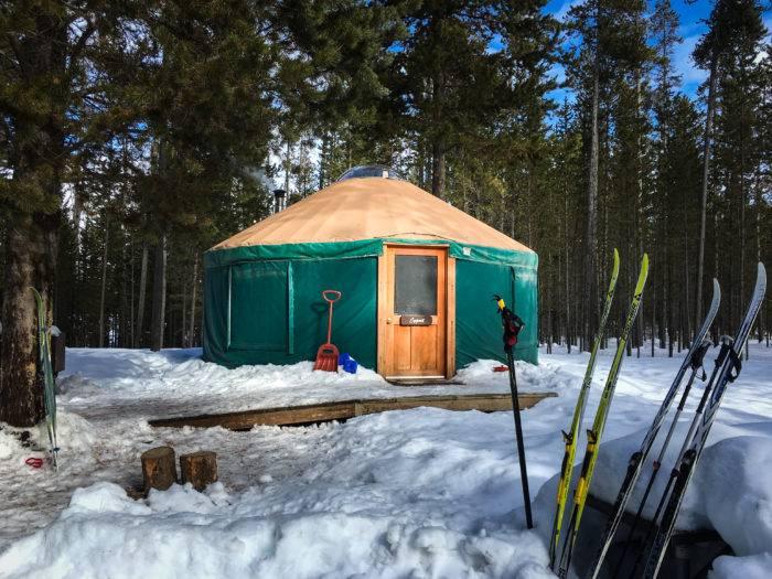 exterior of snowy yurt