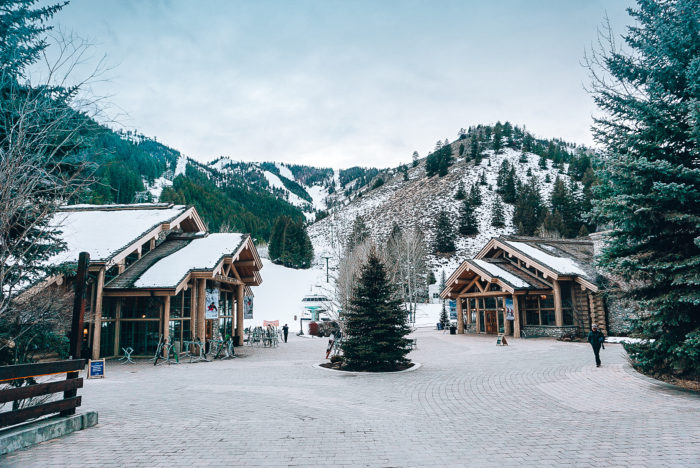 Snowy ski lodge