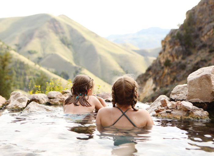 kids in a natural hot spring