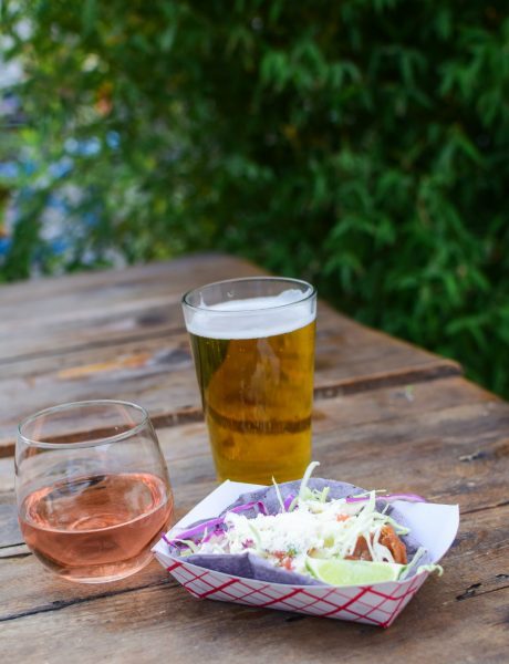BEER AND WINE NEXT TO A TACO