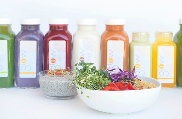 juice bottles and salad