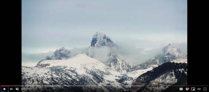 Teton Mountains covered in snow.