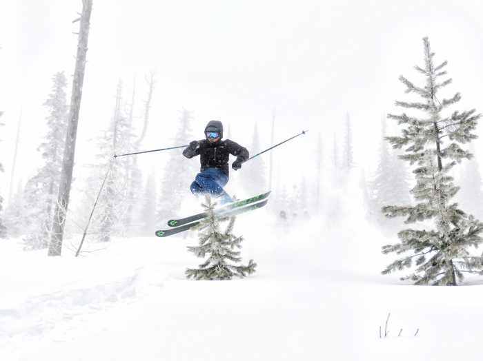 Plenty of deep powder made for a veritable playground in the backcountry behind Schweitzer. Photo Credit: Nick Lake.
