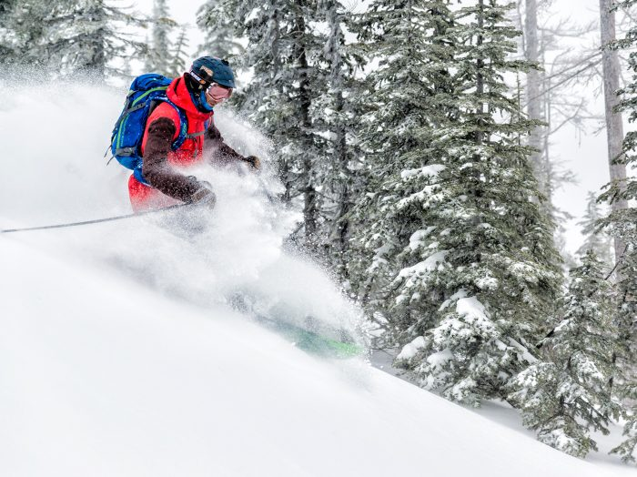 Our Selkirk Powder guide, Matt, led the way for us, showing us run after run of classic Idaho Selkirk champagne powder. Photo Credit: Nick Lake.