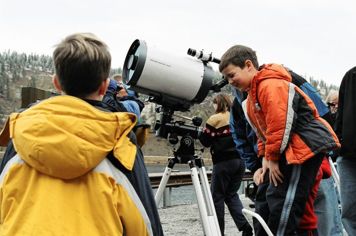 Kids at viewing scope