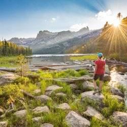 Hiking, Hell Roaring Lake, Sawtooth National Recreation Area, Near Stanley. Photo Credit: Idaho Tourism,