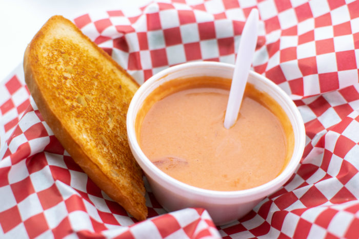 bowl of soup and sandwich