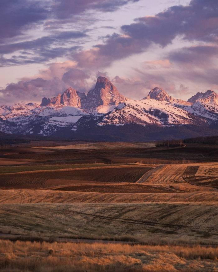Teton Mountains at sunset