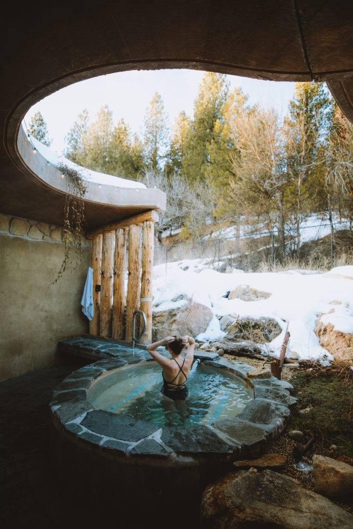 woman in hot pool