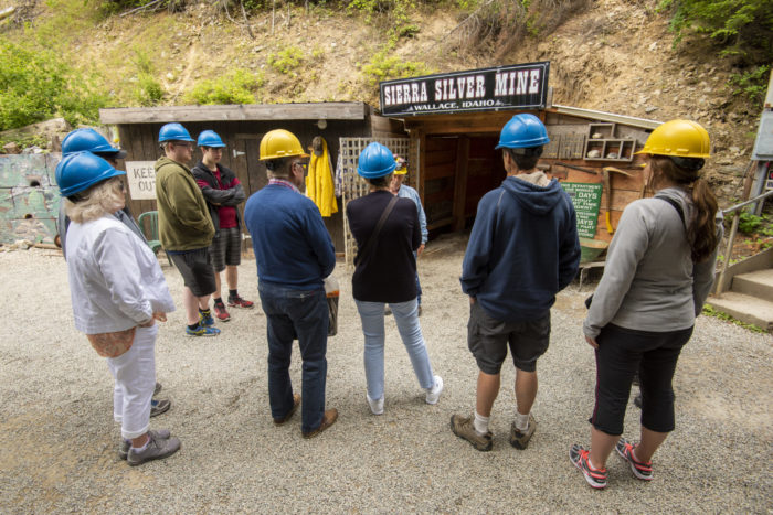 tour group outside of a mine