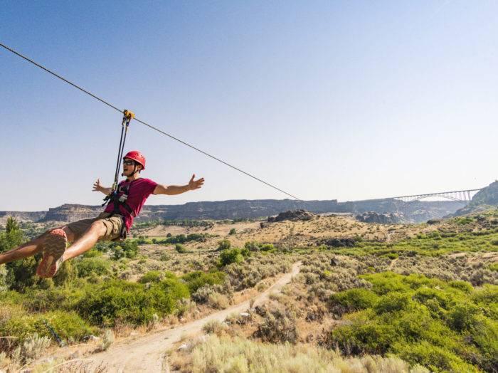 Zip line tour, Twin Falls. Photo Credit: Idaho Tourism.