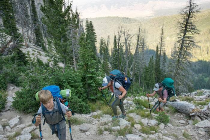 hiking a mountain trail