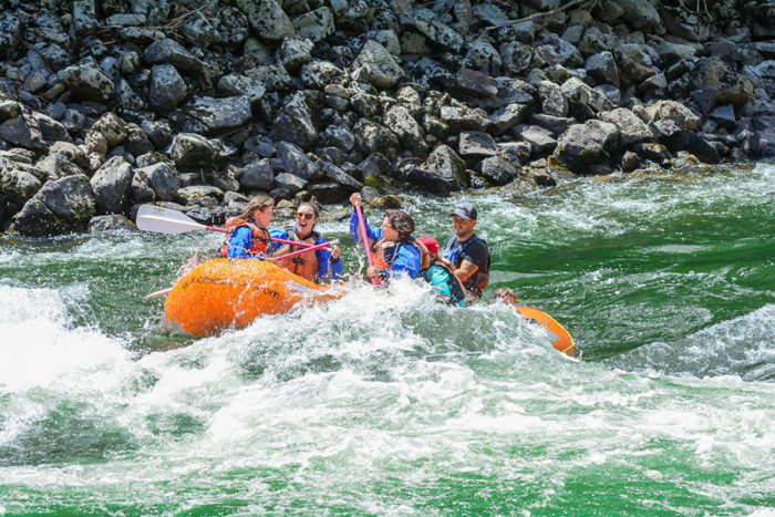 family rafting whitewater