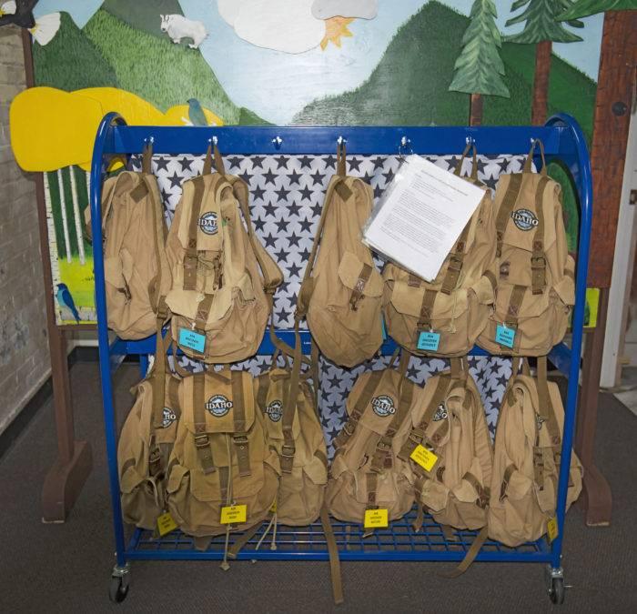 backpacks hanging up