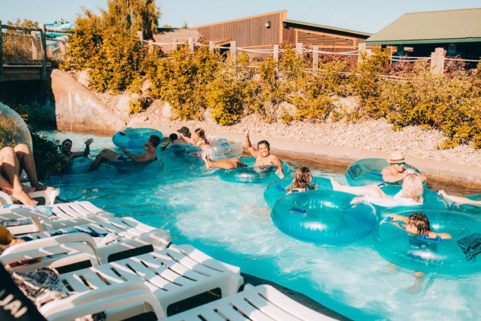 people floating in lazy river
