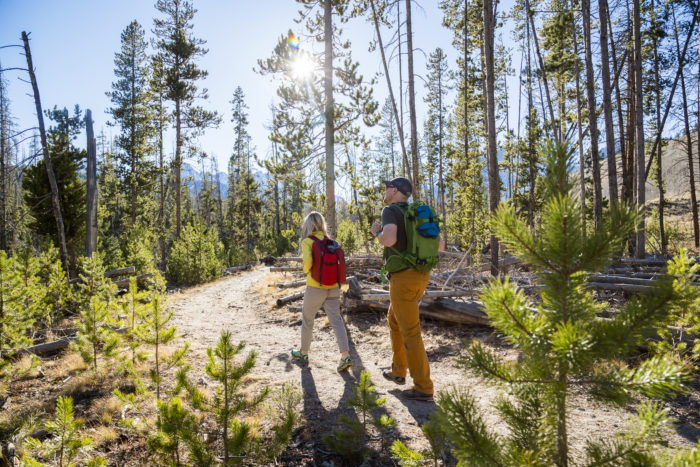 couple hiking marshal ridge, near Stanley