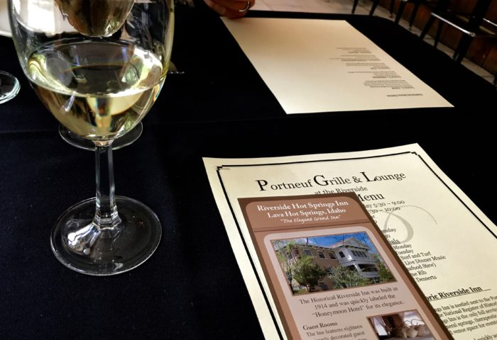menu and wine at portneuf grille