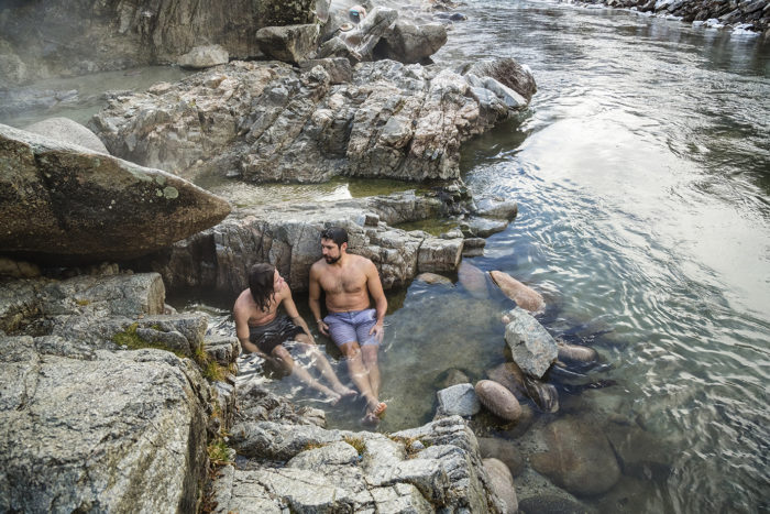 father and son at hot springs