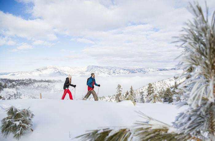 couple snowshoeing near idaho city