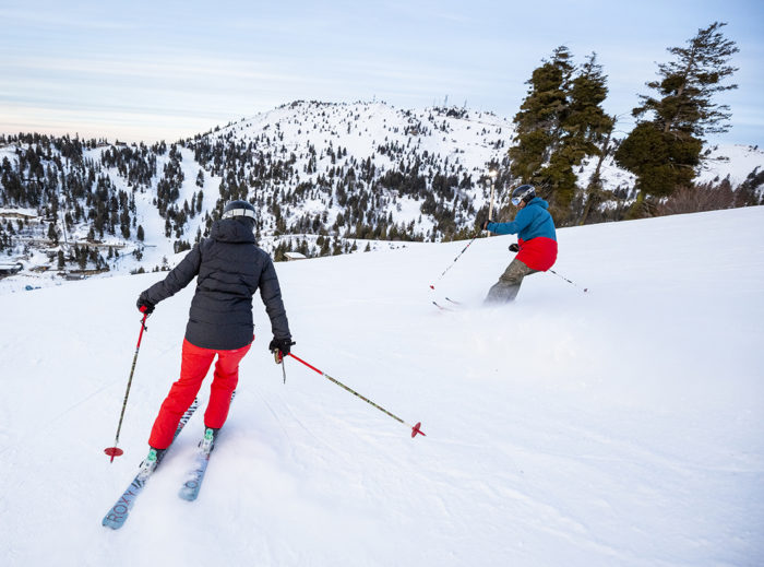 couple skiing at bogus basin