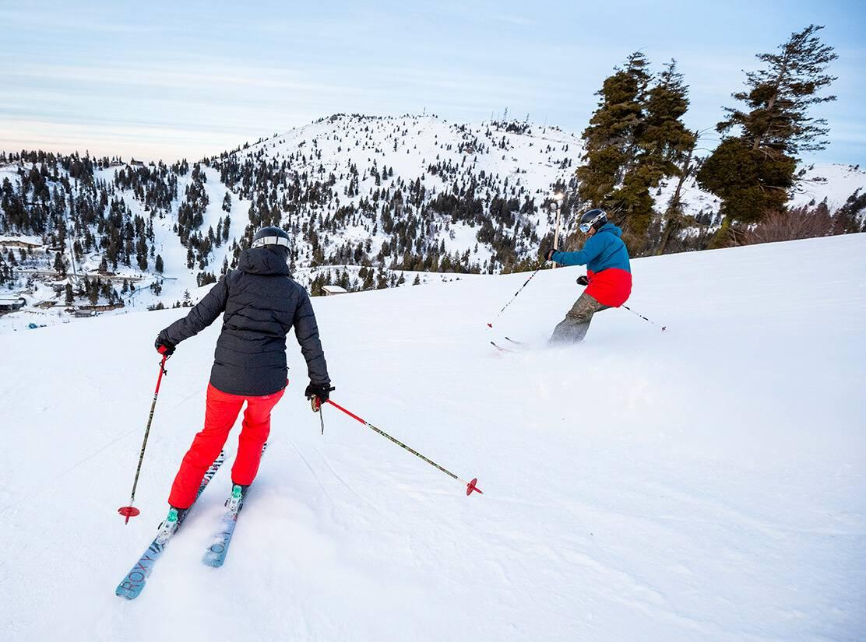 couple skiing at bogus basin