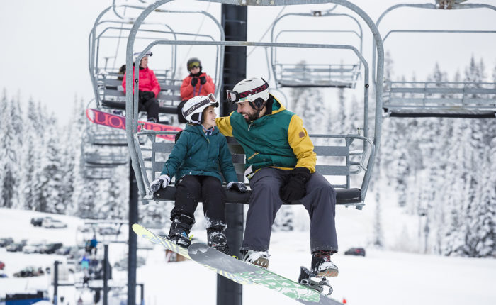 father and son at brundage ski resort