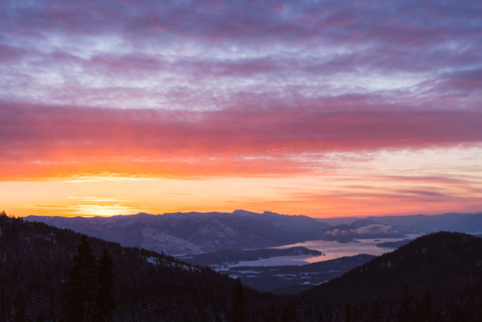 sunset view of Lake Pend Oreille
