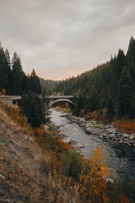 bridge over river with fall colors