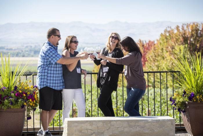 people drinking wine at Koenig winery