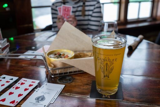 pint glass and apps at salmon river brewing