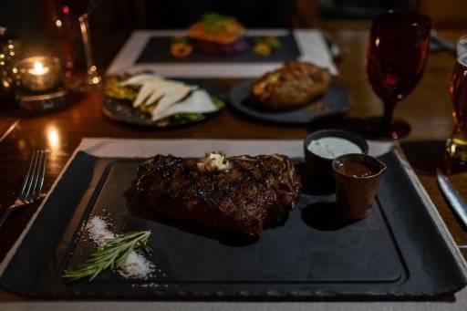 dinner plate with steak