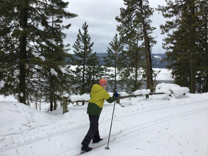 nordic skiing with a view of payette lake