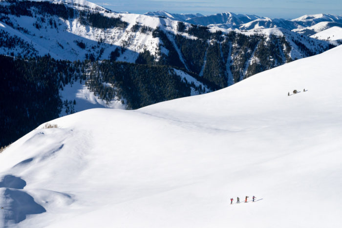 skiers on a snowy slope