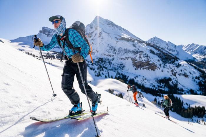 man backcountry skiing