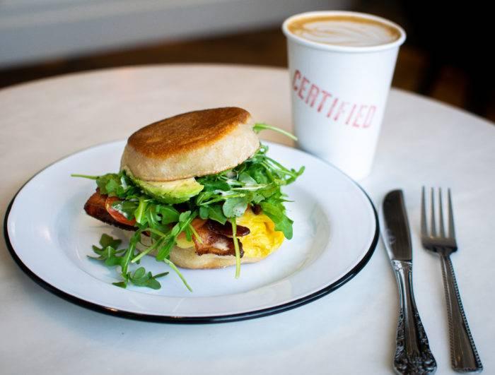 breakfast sandwich and coffee