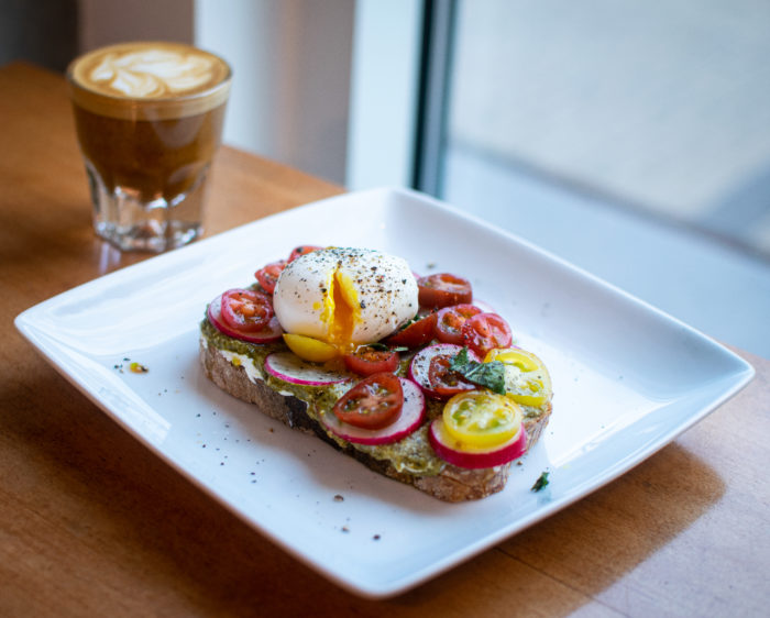 breakfast toast with small coffee