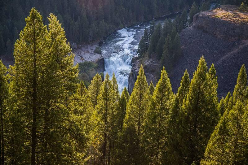 aerial view of lower mesa falls