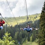 Ziplining is better together at Schweitzer Mountain Resort.  Photo Credit: Idaho Tourism.