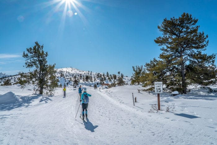 family crosscountry skiing at craters of the moon
