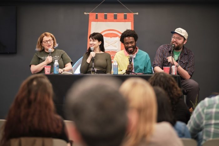 panel of podcasters