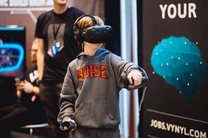 boy working with virtual reality demonstration