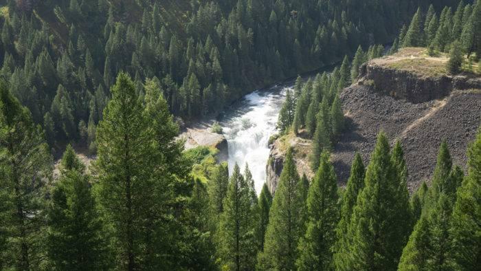 mesa falls aerial view